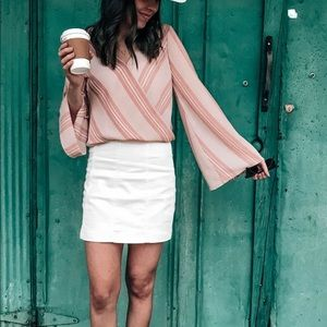 Free People White Denim Skirt Size 4